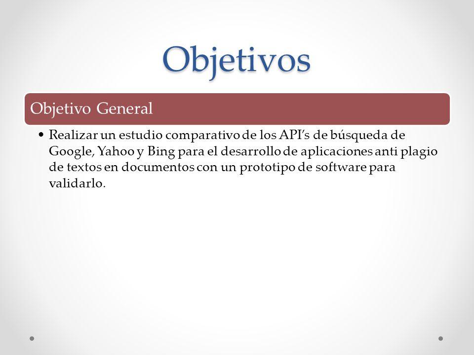 Objetivos Objetivo General Realizar un estudio comparativo de los APIs de búsqueda de Google, Yahoo y Bing para el desarrollo de aplicaciones anti pla