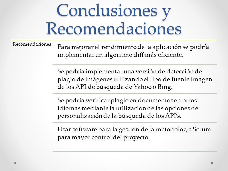 Conclusiones y Recomendaciones Recomendaciones Para mejorar el rendimiento de la aplicación se podría implementar un algoritmo diff más eficiente. Se
