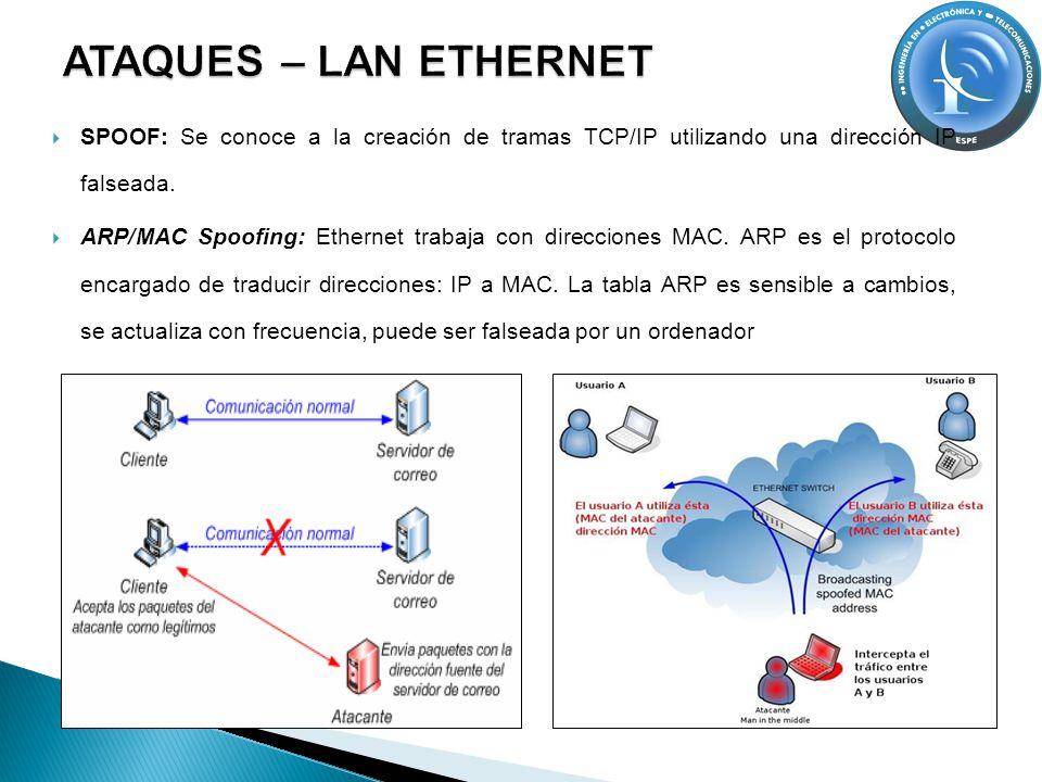 SPOOF: Se conoce a la creación de tramas TCP/IP utilizando una dirección IP falseada. ARP/MAC Spoofing: Ethernet trabaja con direcciones MAC. ARP es e
