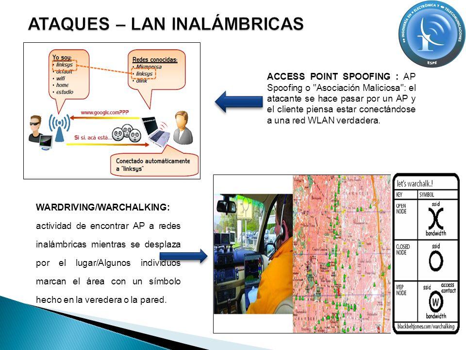 WARDRIVING/WARCHALKING: actividad de encontrar AP a redes inalámbricas mientras se desplaza por el lugar/Algunos individuos marcan el área con un símb