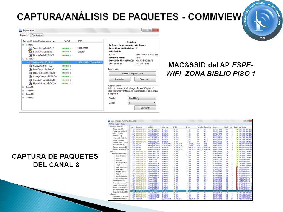 MAC&SSID del AP ESPE- WIFI- ZONA BIBLIO PISO 1 CAPTURA DE PAQUETES DEL CANAL 3
