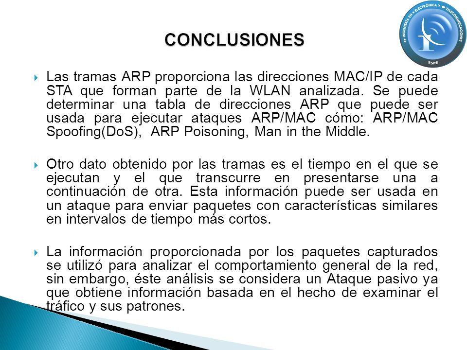 Las tramas ARP proporciona las direcciones MAC/IP de cada STA que forman parte de la WLAN analizada. Se puede determinar una tabla de direcciones ARP