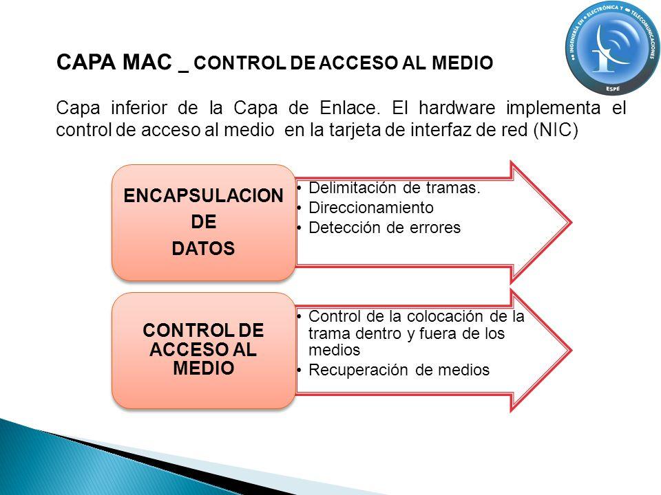 CAPA MAC _ CONTROL DE ACCESO AL MEDIO Capa inferior de la Capa de Enlace. El hardware implementa el control de acceso al medio en la tarjeta de interf