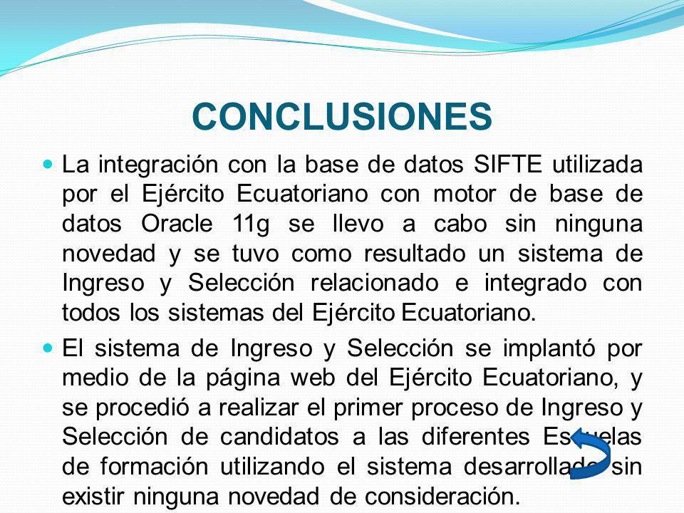 CONCLUSIONES La integración con la base de datos SIFTE utilizada por el Ejército Ecuatoriano con motor de base de datos Oracle 11g se llevo a cabo sin