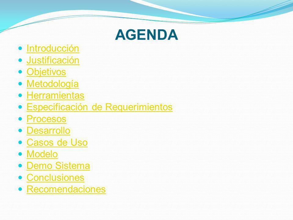 AGENDA Introducción Justificación Objetivos Metodología Herramientas Especificación de Requerimientos Procesos Desarrollo Casos de Uso Modelo Demo Sistema Conclusiones Recomendaciones