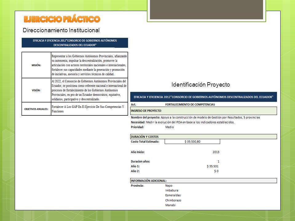 Direccionamiento Institucional Identificación Proyecto