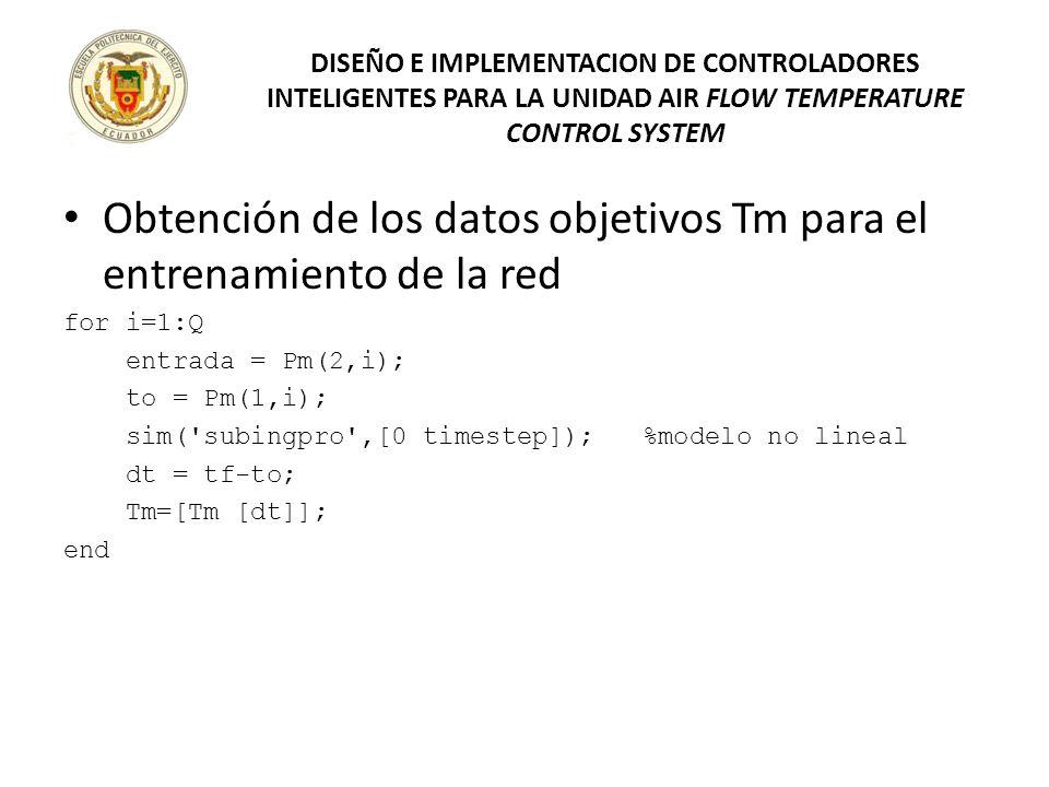 Obtención de los datos objetivos Tm para el entrenamiento de la red for i=1:Q entrada = Pm(2,i); to = Pm(1,i); sim('subingpro',[0 timestep]); %modelo