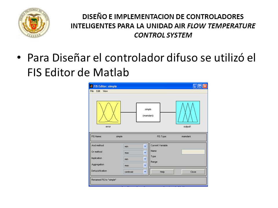 Para Diseñar el controlador difuso se utilizó el FIS Editor de Matlab DISEÑO E IMPLEMENTACION DE CONTROLADORES INTELIGENTES PARA LA UNIDAD AIR FLOW TE