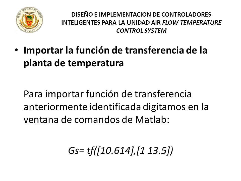 Importar la función de transferencia de la planta de temperatura Para importar función de transferencia anteriormente identificada digitamos en la ven