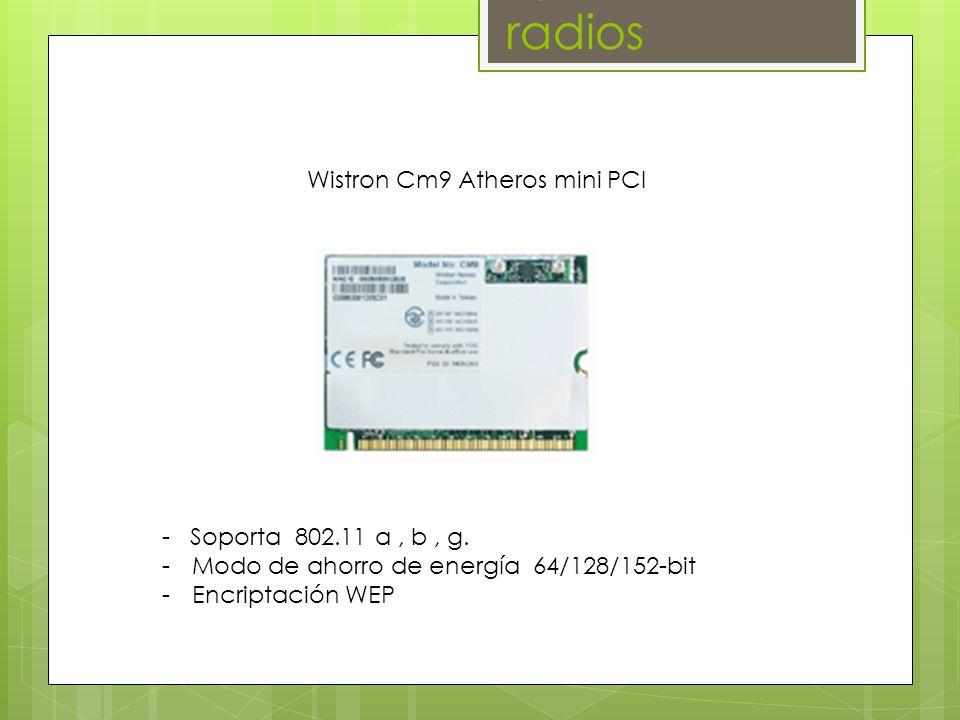 - Soporta 802.11 a, b, g.