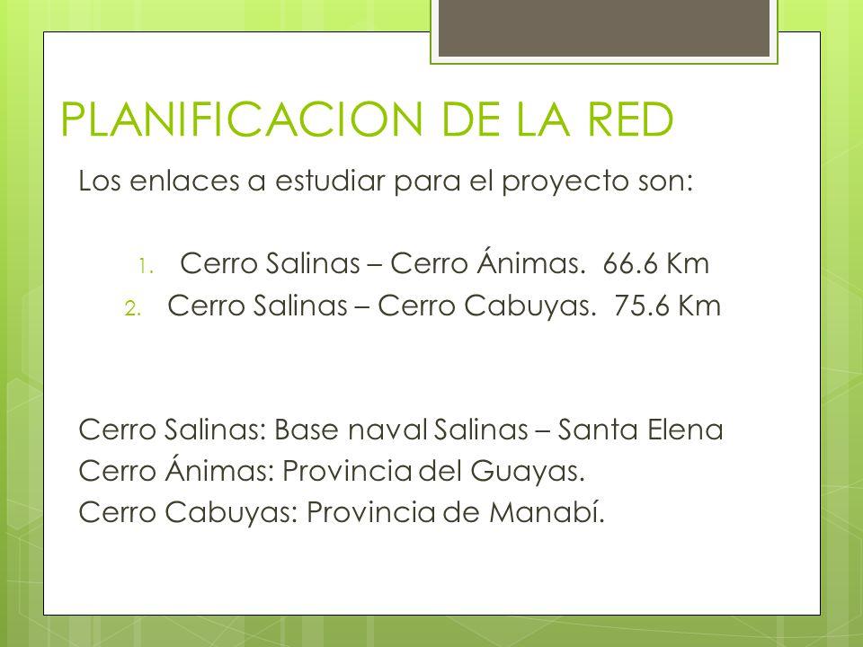 PLANIFICACION DE LA RED Los enlaces a estudiar para el proyecto son: 1.