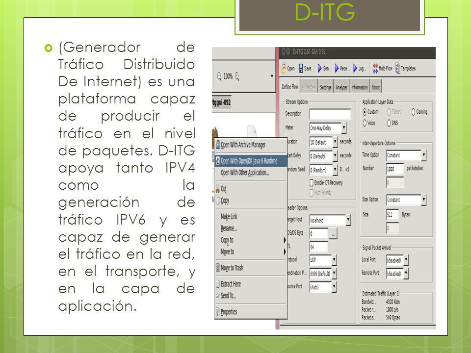 D-ITG (Generador de Tráfico Distribuido De Internet) es una plataforma capaz de producir el tráfico en el nivel de paquetes.