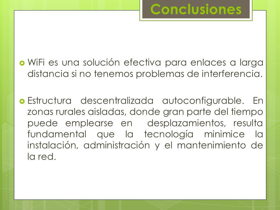 Conclusiones WiFi es una solución efectiva para enlaces a larga distancia si no tenemos problemas de interferencia.