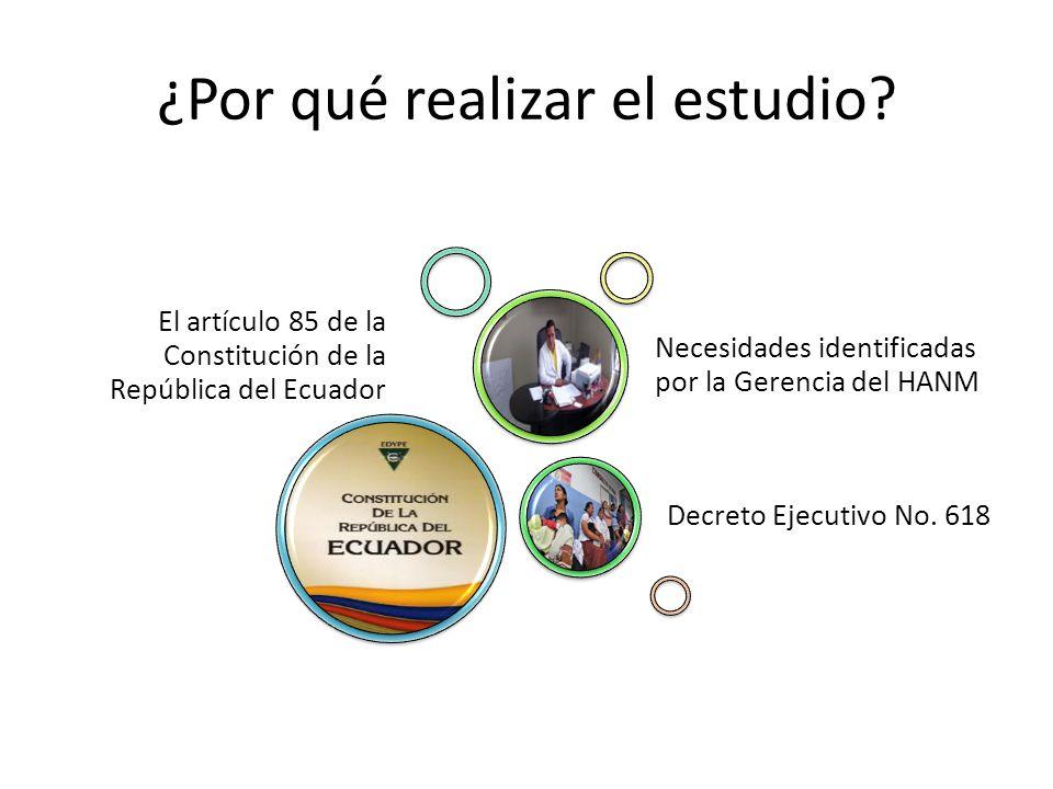 ¿Por qué realizar el estudio? El artículo 85 de la Constitución de la República del Ecuador Decreto Ejecutivo No. 618 Necesidades identificadas por la