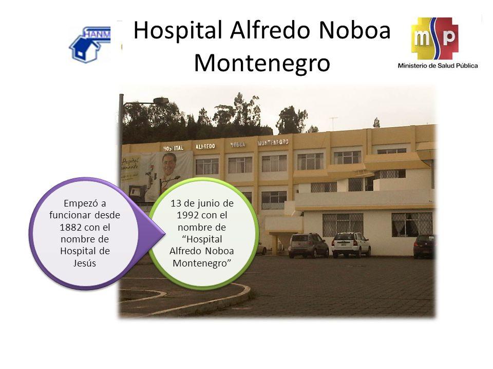 Hospital Alfredo Noboa Montenegro 13 de junio de 1992 con el nombre de Hospital Alfredo Noboa Montenegro Empezó a funcionar desde 1882 con el nombre de Hospital de Jesús
