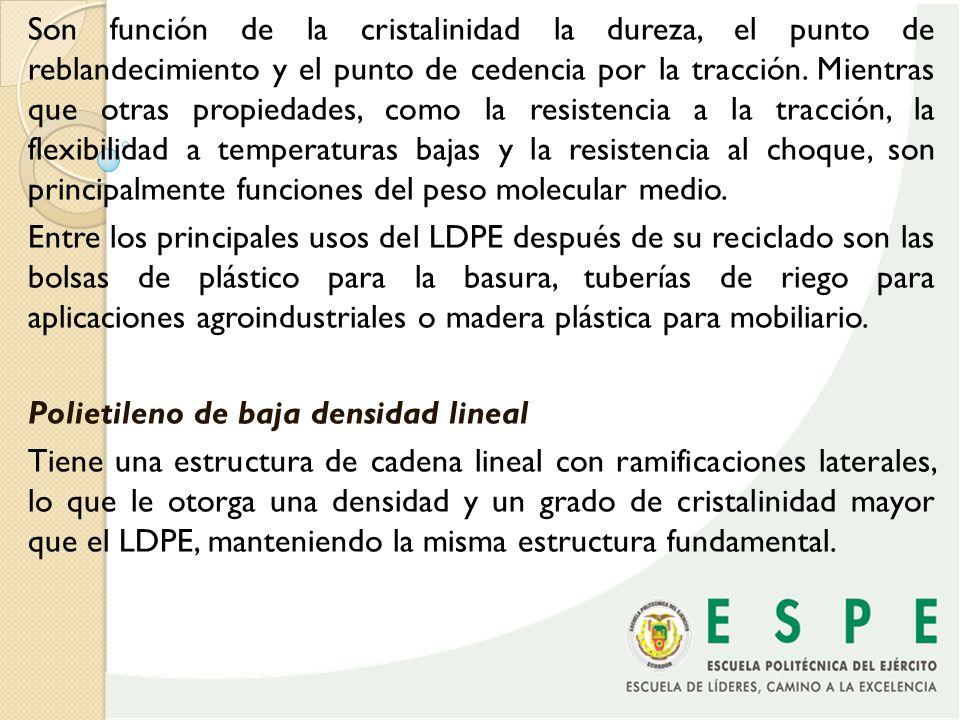 El LLDPE es un polímero rígido con la inclusión del buteno, hexeno y octeno, lo que modifica las propiedades al tener mayor resistencia a la tensión, al rasgado y a la perforación, mayor resistencia al impacto, y resiste mejor a acciones del ambiente.