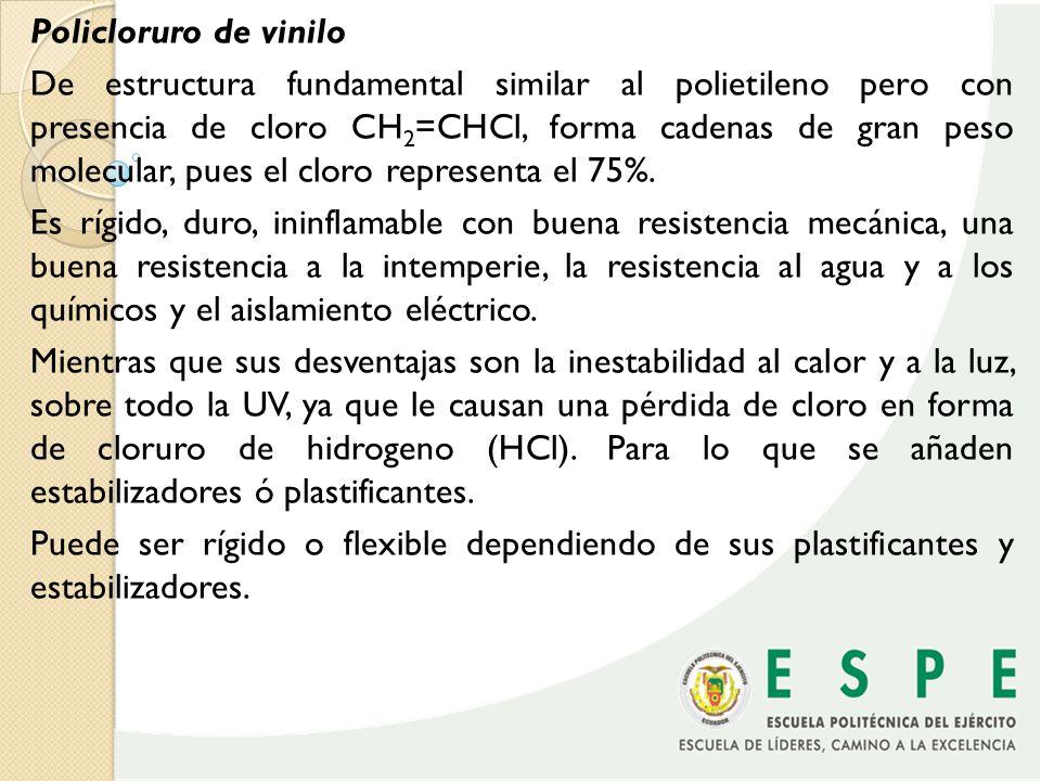 Polipropileno Es similar al polietileno, pero con la diferencia de que uno de sus carbones es reemplazado por el grupo metilo CH 3 -.