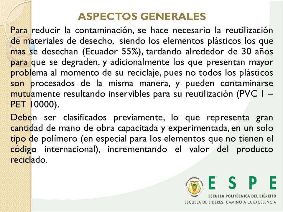 Es aquí donde se hace necesario analizar, evaluar y determinar los diferentes métodos de identificación de plásticos susceptibles de automatización, para aplicarlos a la industria del Ecuador, aplicables a otros campos.