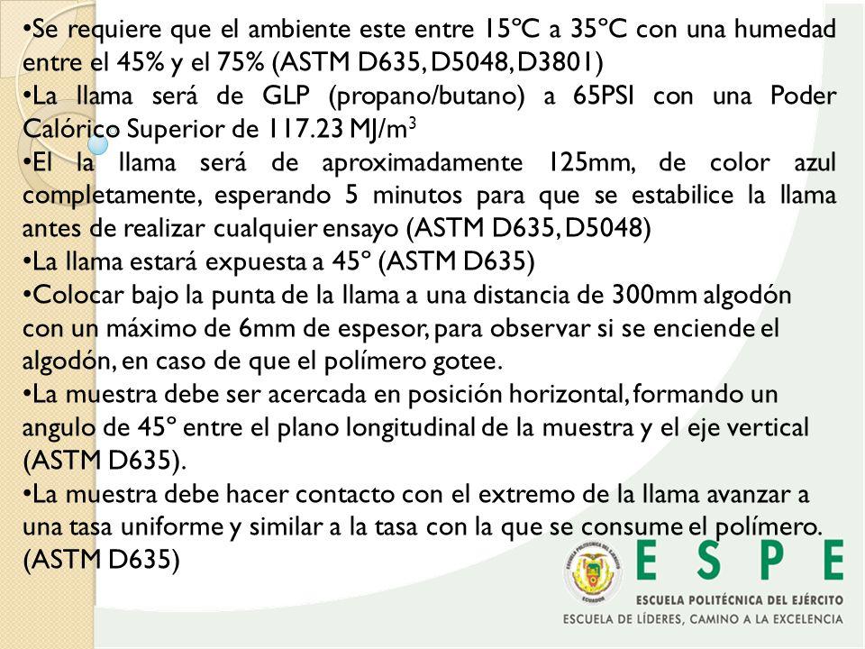 Se requiere que el ambiente este entre 15ºC a 35ºC con una humedad entre el 45% y el 75% (ASTM D635, D5048, D3801) La llama será de GLP (propano/butan