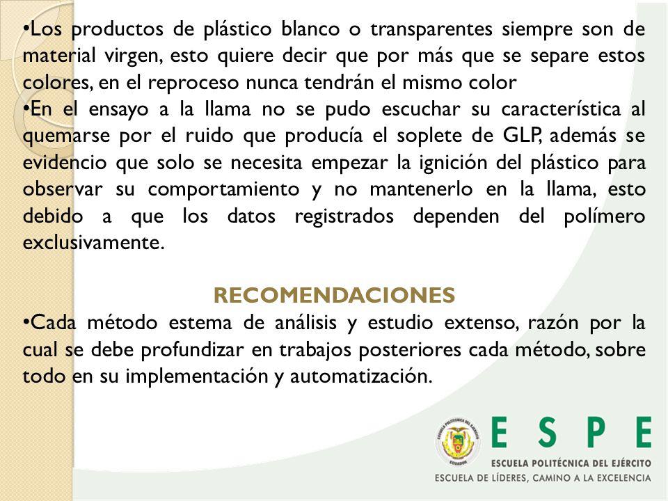El problema más grave radica en la separación del PET y el PVC, por lo que se recomienda poner más énfasis en los procedimiento que separen estos, porque además el PVC no puede analizarse mediante el FT-IR No es nunca recomendable adoptar un solo procedimiento de caracterización de polímeros Aun con varios métodos de separación de plásticos, siempre es recomendable seleccionar los desechos desde la fuente y no mesclar con otros elementos Muchas veces los plásticos vienen unidos a metales, por lo que se necesita una separación previa de estos.