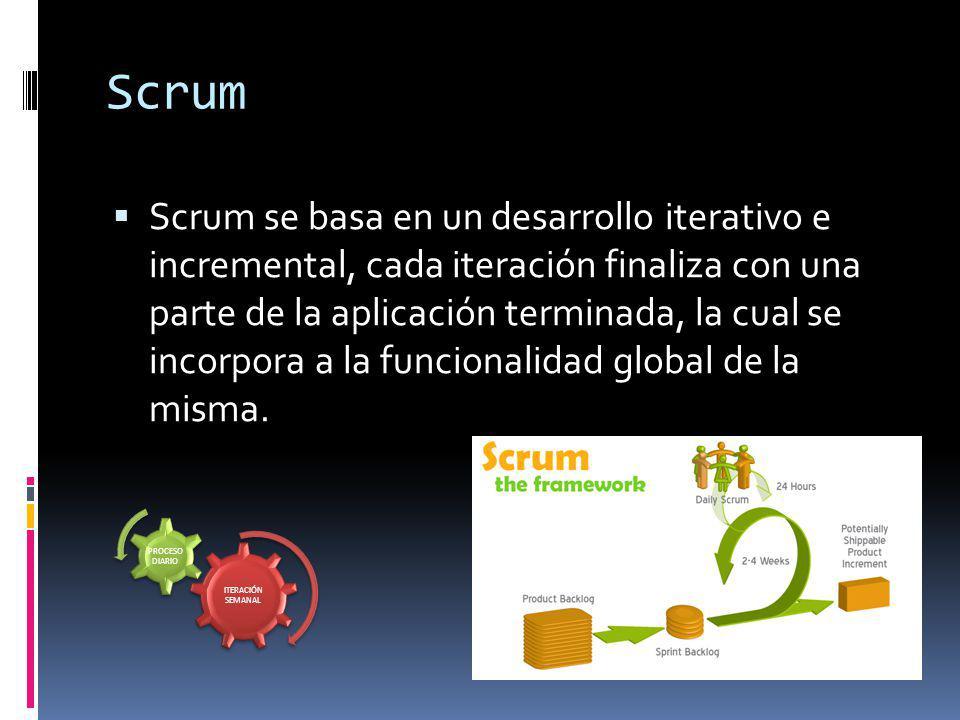 Scrum Scrum se basa en un desarrollo iterativo e incremental, cada iteración finaliza con una parte de la aplicación terminada, la cual se incorpora a