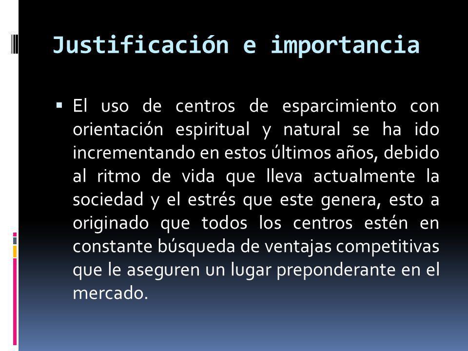 Justificación e importancia El uso de centros de esparcimiento con orientación espiritual y natural se ha ido incrementando en estos últimos años, deb