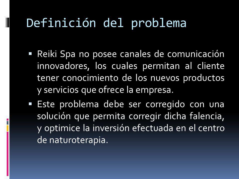 Definición del problema Reiki Spa no posee canales de comunicación innovadores, los cuales permitan al cliente tener conocimiento de los nuevos produc
