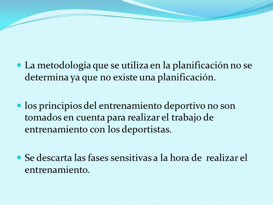La metodología que se utiliza en la planificación no se determina ya que no existe una planificación. los principios del entrenamiento deportivo no so
