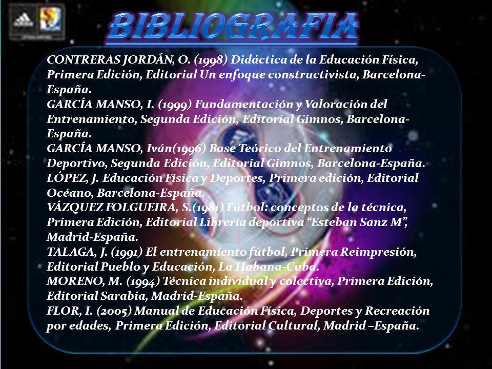 CONTRERAS JORDÁN, O. (1998) Didáctica de la Educación Física, Primera Edición, Editorial Un enfoque constructivista, Barcelona- España. GARCÍA MANSO,
