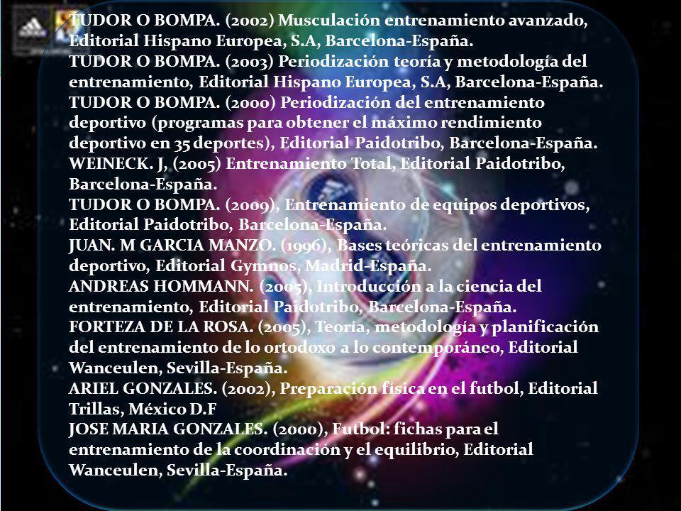 TUDOR O BOMPA. (2002) Musculación entrenamiento avanzado, Editorial Hispano Europea, S.A, Barcelona-España. TUDOR O BOMPA. (2003) Periodización teoría