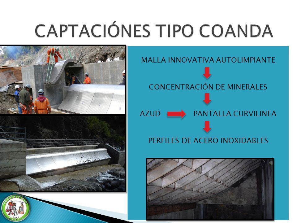 MALLA INNOVATIVA AUTOLIMPIANTE CONCENTRACIÓN DE MINERALES AZUD PANTALLA CURVILINEA PERFILES DE ACERO INOXIDABLES
