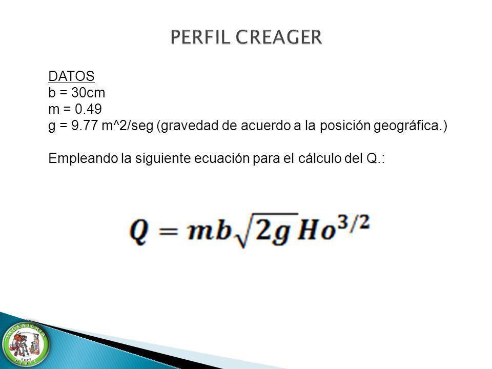 DATOS b = 30cm m = 0.49 g = 9.77 m^2/seg (gravedad de acuerdo a la posición geográfica.) Empleando la siguiente ecuación para el cálculo del Q.: