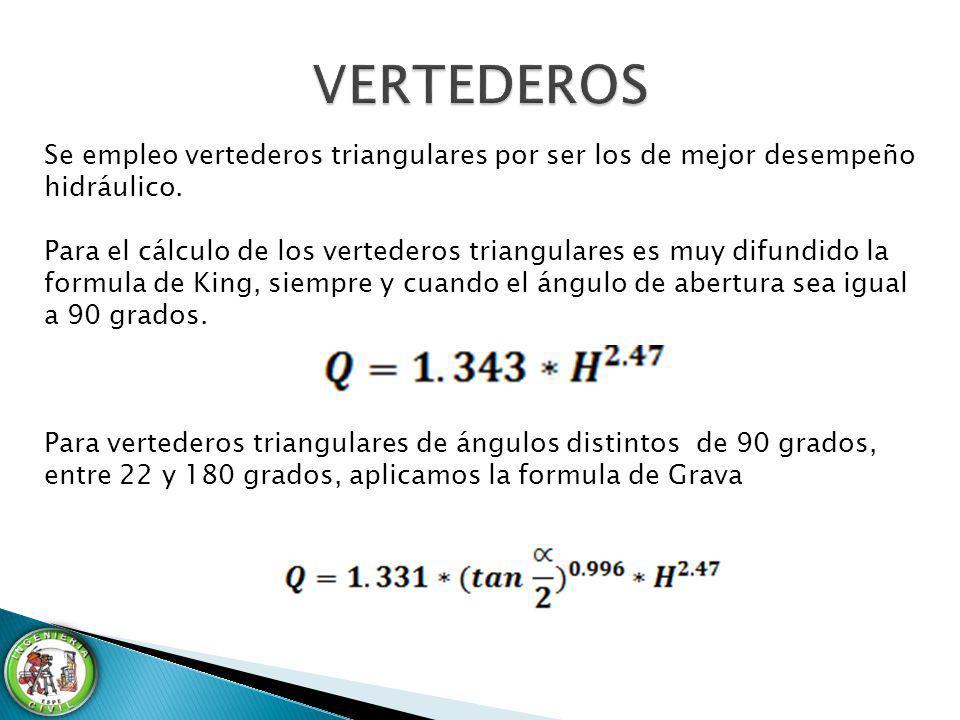 Se empleo vertederos triangulares por ser los de mejor desempeño hidráulico. Para el cálculo de los vertederos triangulares es muy difundido la formul