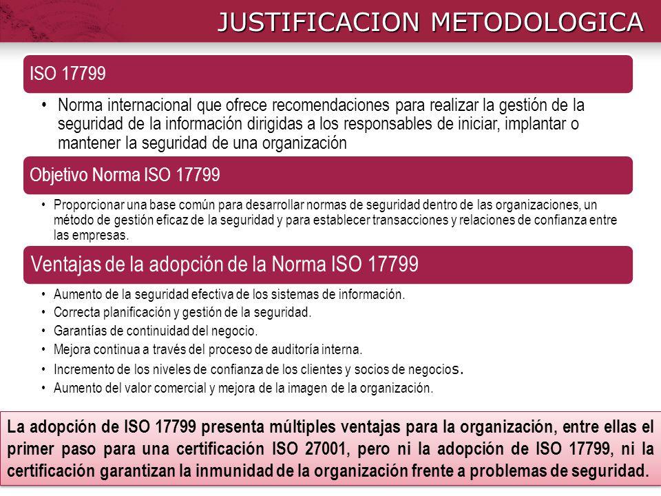 JUSTIFICACION METODOLOGICA La adopción de ISO 17799 presenta múltiples ventajas para la organización, entre ellas el primer paso para una certificació