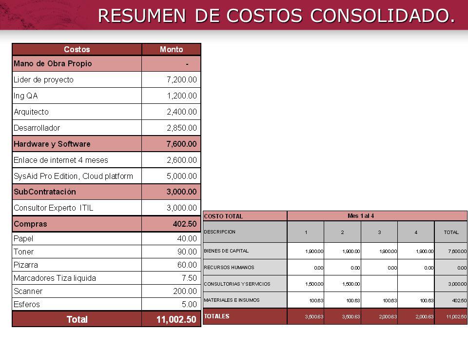 RESUMEN DE COSTOS CONSOLIDADO.