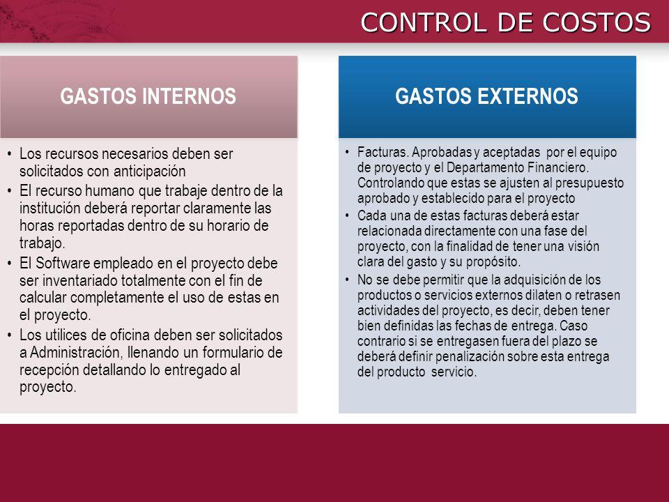 CONTROL DE COSTOS GASTOS INTERNOS Los recursos necesarios deben ser solicitados con anticipación El recurso humano que trabaje dentro de la institució