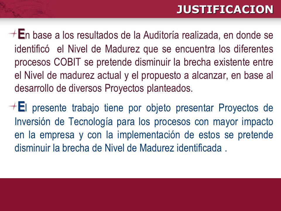 JUSTIFICACION E E n base a los resultados de la Auditoría realizada, en donde se identificó el Nivel de Madurez que se encuentra los diferentes proces