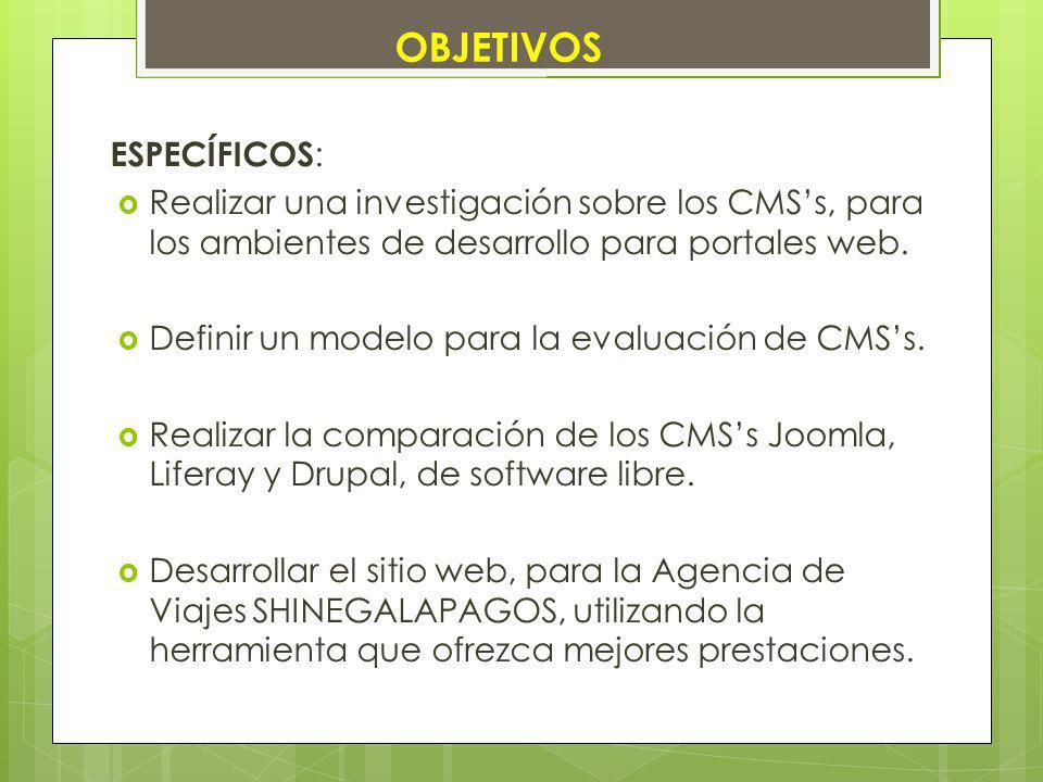 ESPECÍFICOS : Realizar una investigación sobre los CMSs, para los ambientes de desarrollo para portales web. Definir un modelo para la evaluación de C