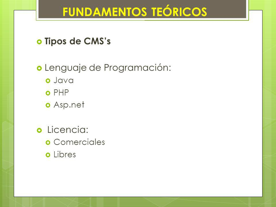 Tipos de CMSs Lenguaje de Programación: Java PHP Asp.net Licencia: Comerciales Libres FUNDAMENTOS TEÓRICOS
