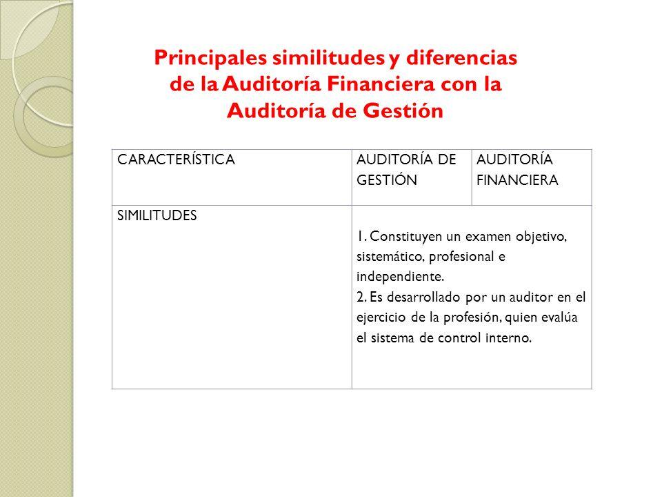CARACTERÍSTICA AUDITORÍA DE GESTIÓN AUDITORÍA FINANCIERA SIMILITUDES 1. Constituyen un examen objetivo, sistemático, profesional e independiente. 2. E