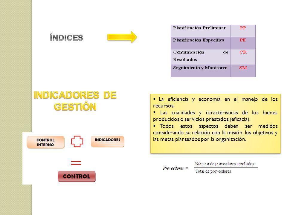 La eficiencia y economía en el manejo de los recursos. Las cualidades y características de los bienes producidos o servicios prestados (eficacia). Tod