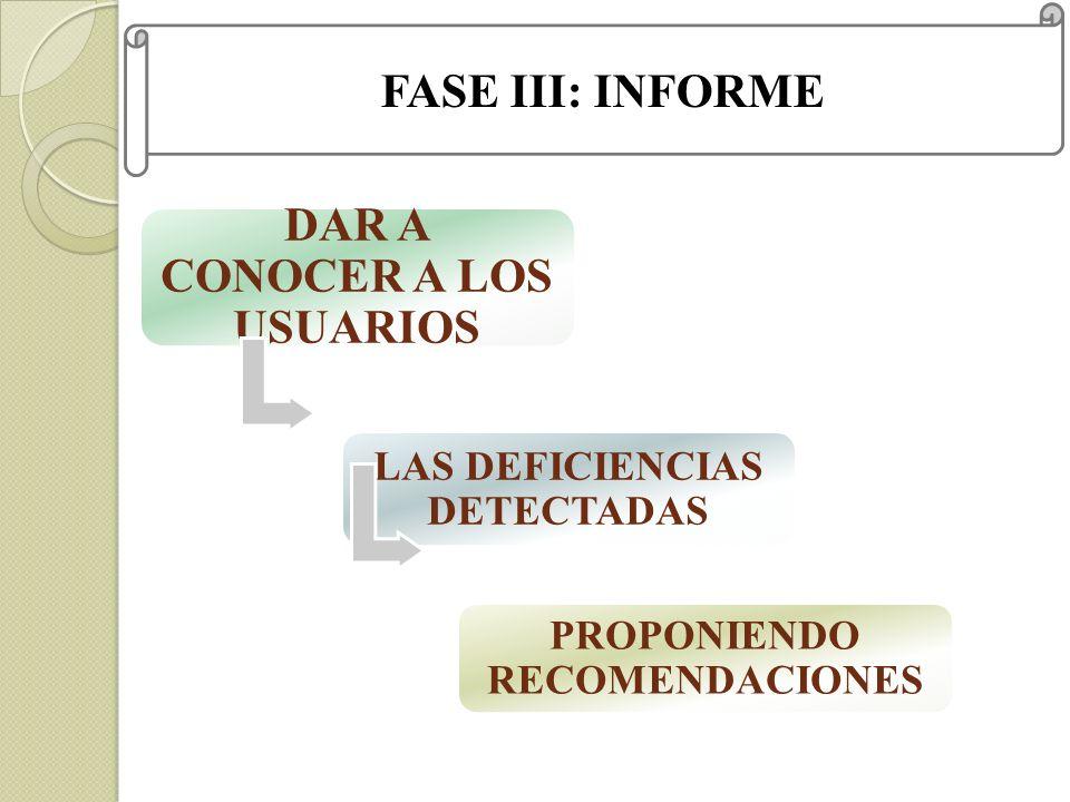 FASE III: INFORME DAR A CONOCER A LOS USUARIOS LAS DEFICIENCIAS DETECTADAS PROPONIENDO RECOMENDACIONES