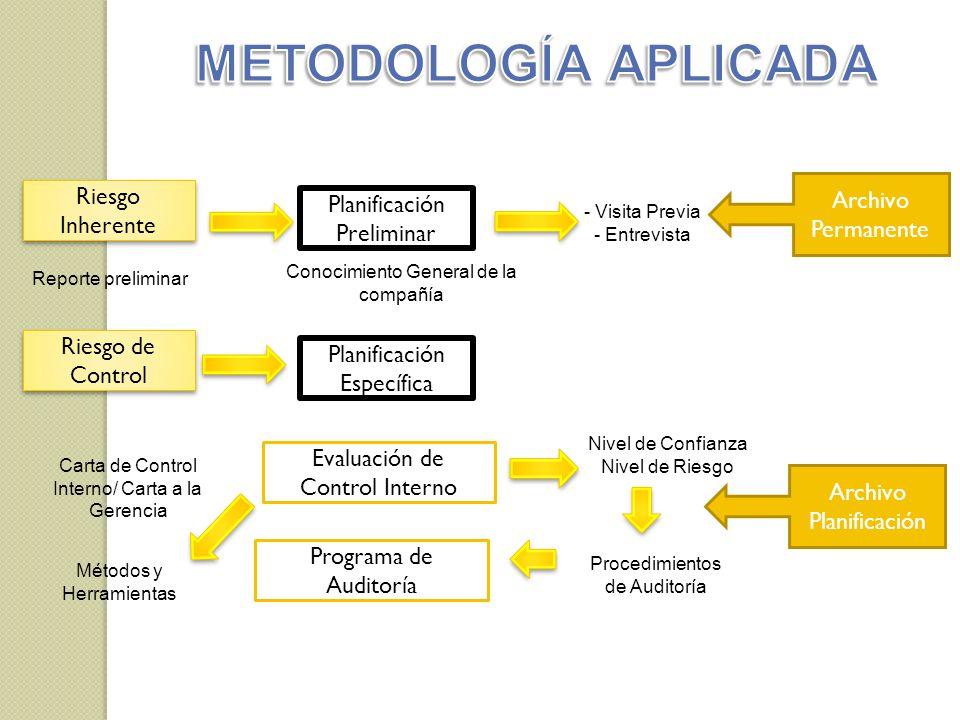 Reporte preliminar - Visita Previa - Entrevista Riesgo Inherente Planificación Preliminar Conocimiento General de la compañía Riesgo de Control Planif
