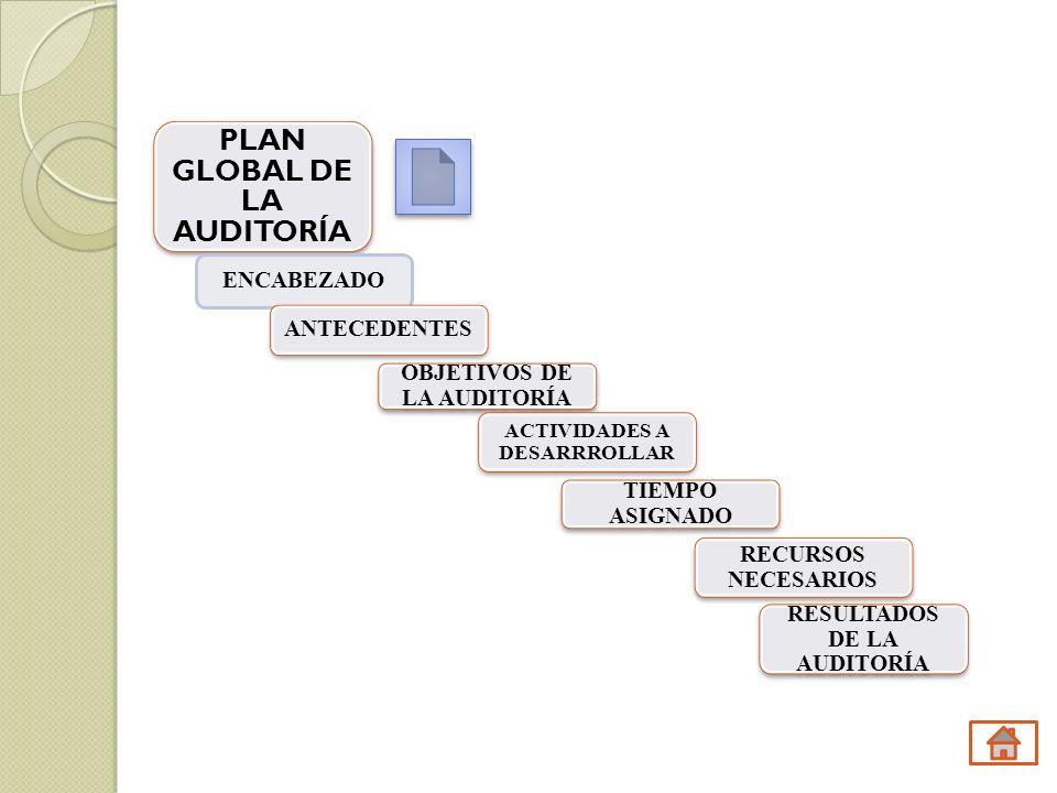 PLAN GLOBAL DE LA AUDITORÍA ENCABEZADO ANTECEDENTES OBJETIVOS DE LA AUDITORÍA ACTIVIDADES A DESARRROLLAR TIEMPO ASIGNADO RECURSOS NECESARIOS RESULTADO