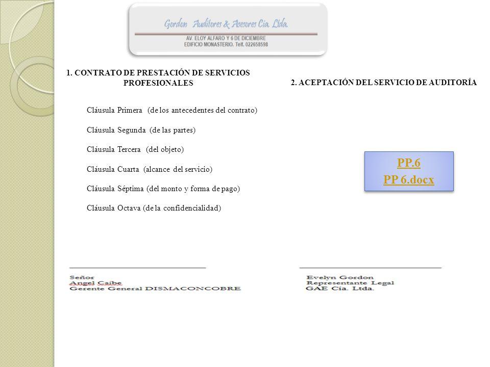 1. CONTRATO DE PRESTACIÓN DE SERVICIOS PROFESIONALES 2. ACEPTACIÓN DEL SERVICIO DE AUDITORÍA Cláusula Primera (de los antecedentes del contrato) Cláus