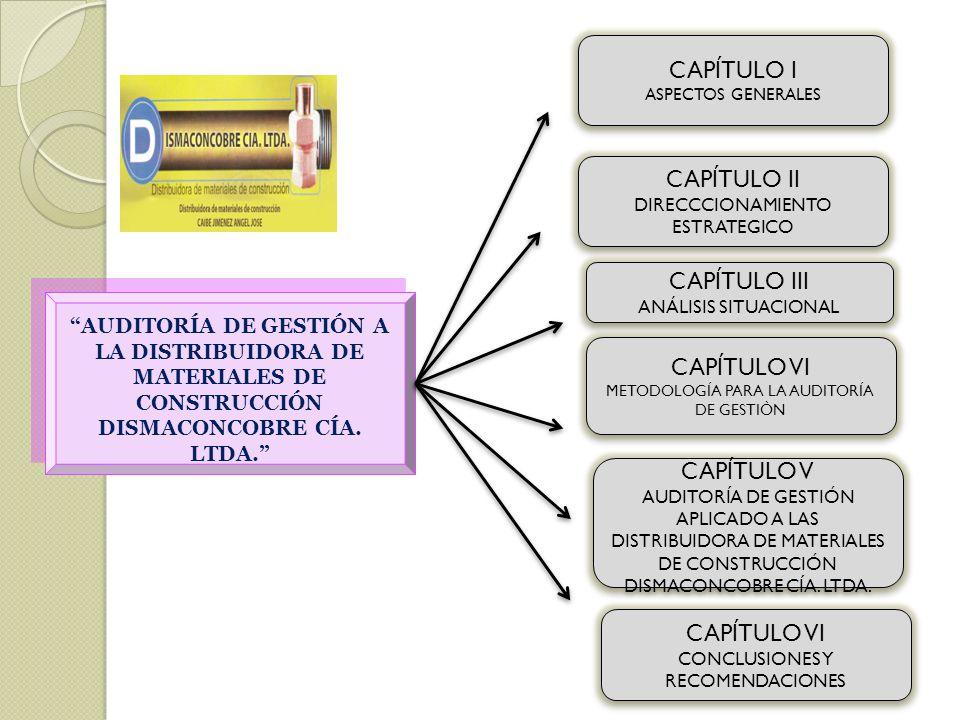 CAPÍTULO I ASPECTOS GENERALES CAPÍTULO I ASPECTOS GENERALES AUDITORÍA DE GESTIÓN A LA DISTRIBUIDORA DE MATERIALES DE CONSTRUCCIÓN DISMACONCOBRE CÍA. L