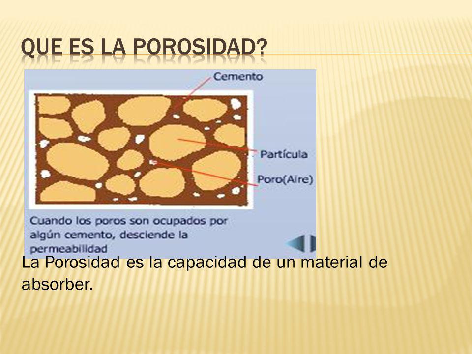 La Porosidad es la capacidad de un material de absorber.