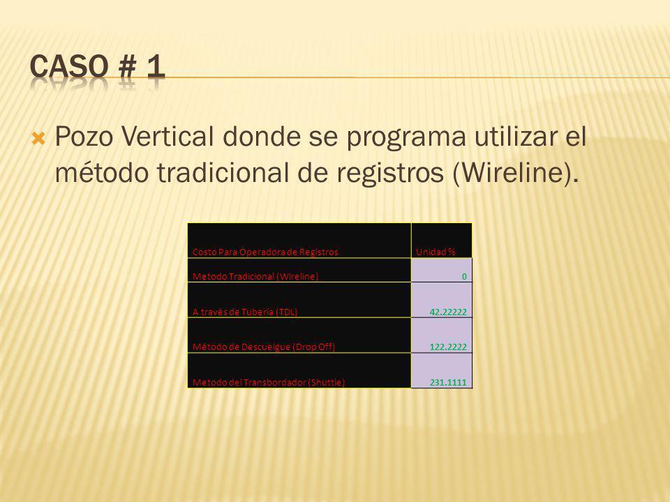 Pozo Vertical donde se programa utilizar el método tradicional de registros (Wireline).