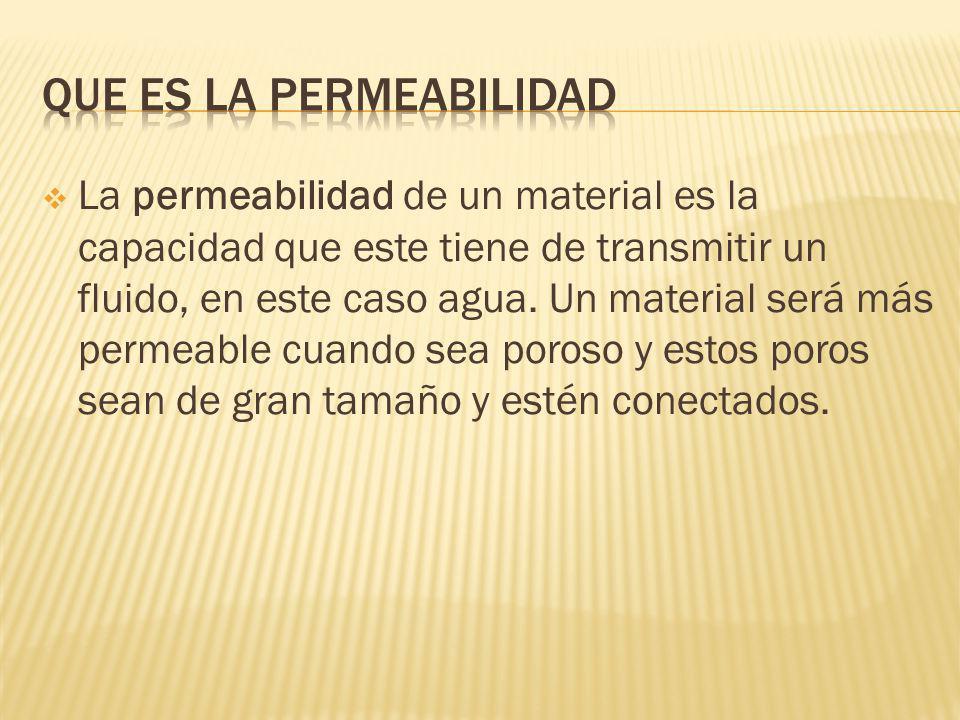 La permeabilidad de un material es la capacidad que este tiene de transmitir un fluido, en este caso agua.