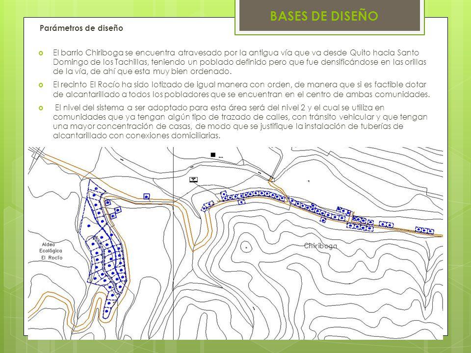 BASES DE DISEÑO Parámetros de diseño El barrio Chiriboga se encuentra atravesado por la antigua vía que va desde Quito hacia Santo Domingo de los Tach